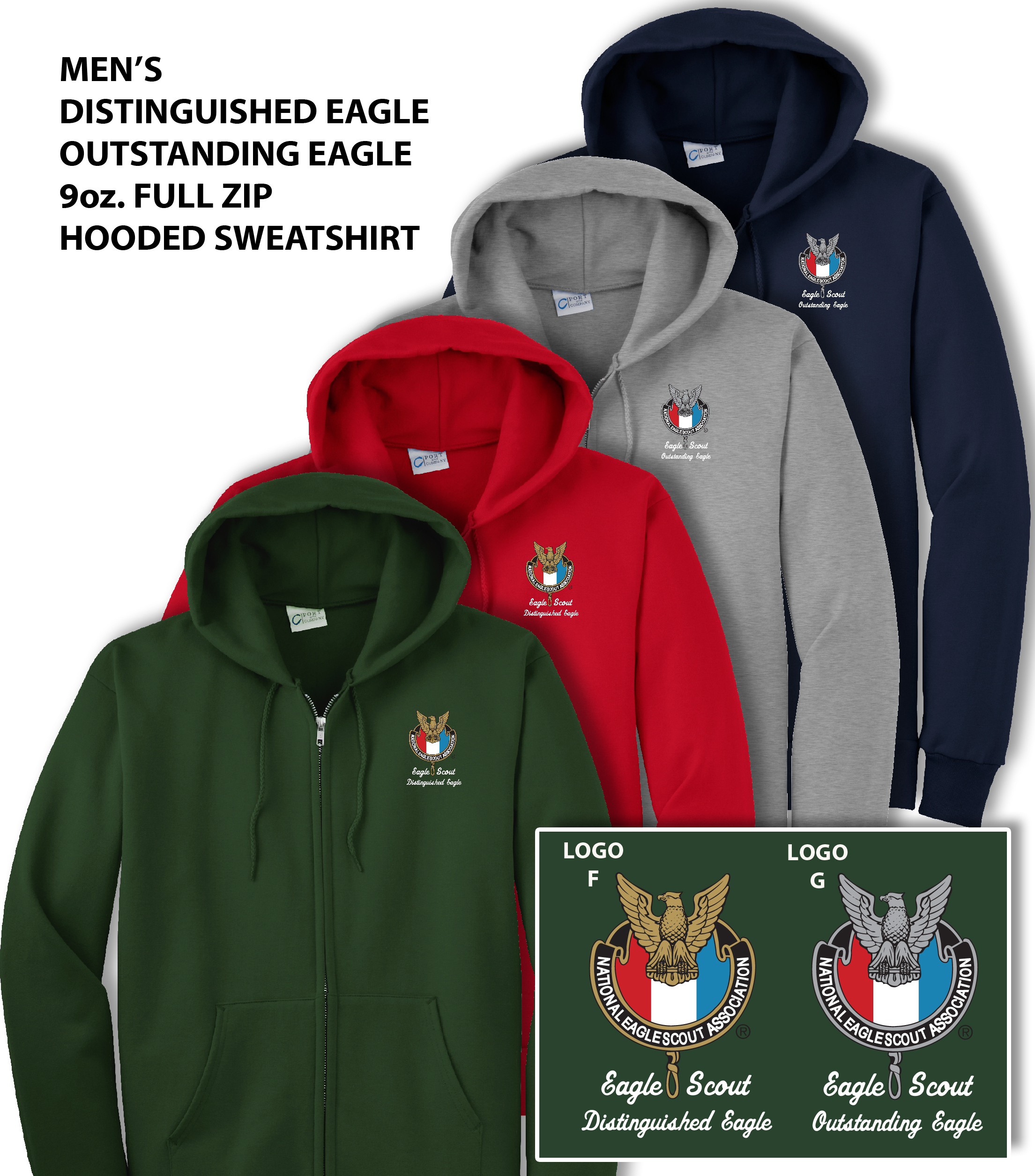 size 40 4fa0e d0aac Men's Eagle Scout Hoodie Sweatshirt full Zipper Distinguished & Outstanding